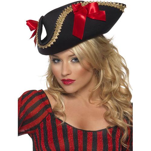 Adulte Femmes Rouge Pirate Tricorne Chapeau avec décoration accessoire robe fantaisie