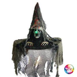 Chapeau sorcière tissu gris lumineux