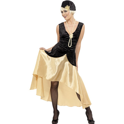 Costume femme Gatsby girl robe longue, collier et coiffe