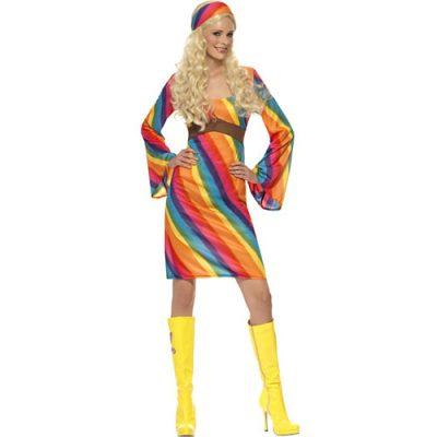 Costume femme hippie arc-en-ciel