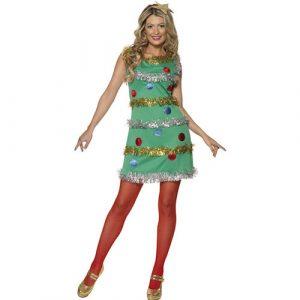 Costume femme sapin de Noël décoré