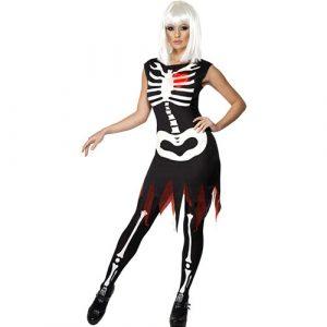 Costume femme squelette lumineux