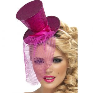 Mini chapeau haut de forme filet paillettes fushia - maquillage