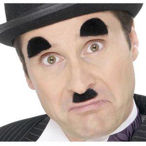 Moustache sourcils Charlot noirs