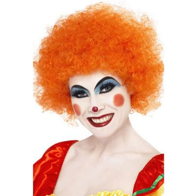 Perruque clown fou orange