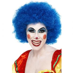 Perruque clown fou bleu
