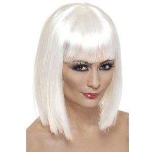 Perruque glam courte blanche