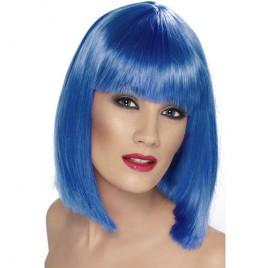 Perruque glam courte bleue