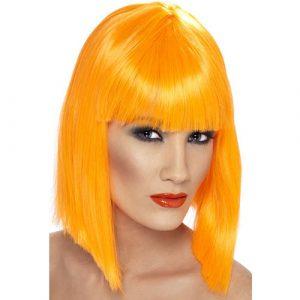 Perruque glam courte orange