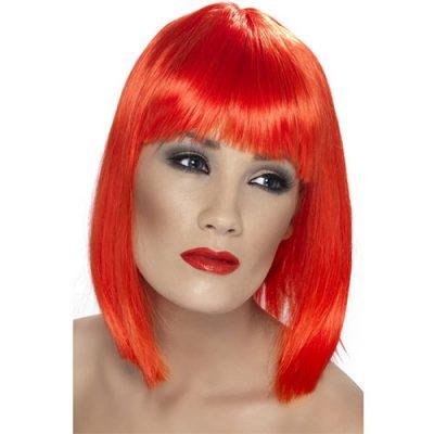 Perruque glam courte rouge