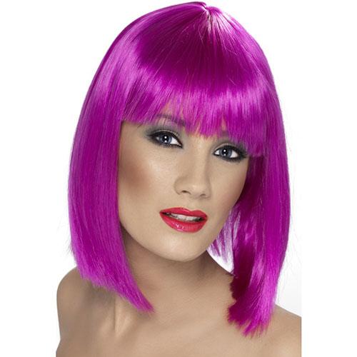 Perruque Glam Violet Fluo Carre Plongeant Lisse Et Frange