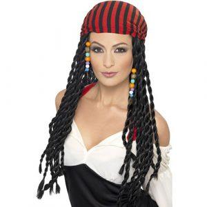 Perruque pirate tressée noire