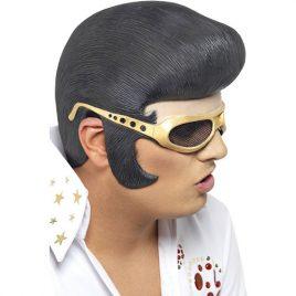 Perruque casque lunettes Elvis noire