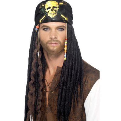 Perruque pirate dreadlocks noires
