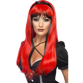 Perruque princesse sinistre rouge