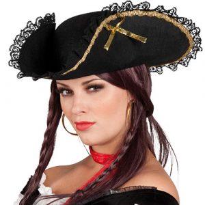 Tricorne pirate dame noir et doré