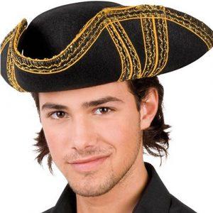 Tricorne pirate noir et doré
