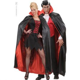 Cape satin noire rouge adulte
