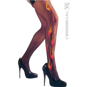 Collants noirs décor flamme