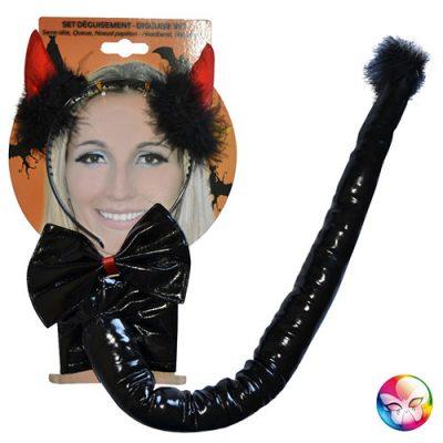 Set diable vinyle noir - Accessoire déguisement