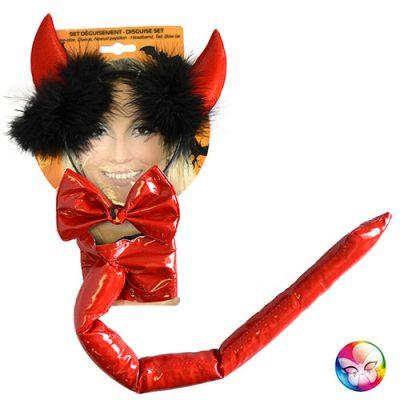 Set diable vinyle rouge - Accessoire de déguisement