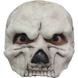 Demi masque crâne blanc latex adulte
