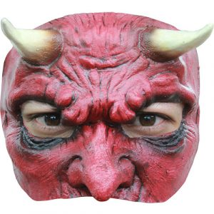 Demi masque diable rouge latex adulte