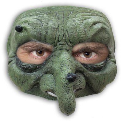 Demi masque sorcière verte latex adulte