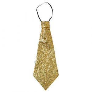 Cravate paillettes dorée