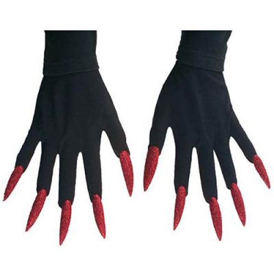 Gants noirs ongles rouges maxi