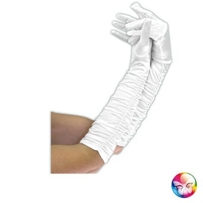 Gants satinés plissés blancs