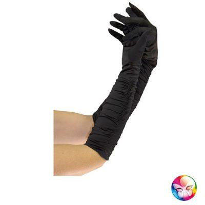 Gants satinés plissés noirs