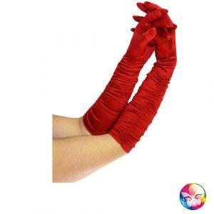 Gants satinés plissés rouges