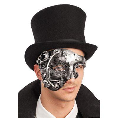 Masque profil steampunk argent