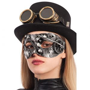 Masque loup steampunk argent