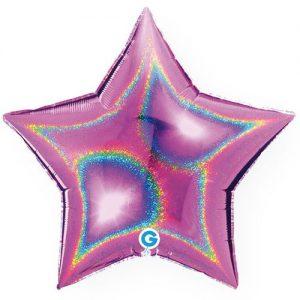 ballon-helium-etoile-holographique-rose-45-cm