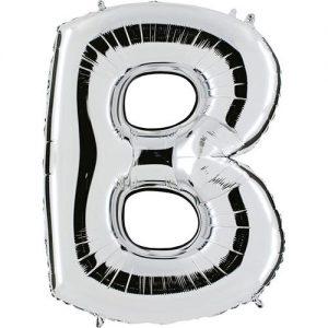 ballon-metallise-argent-lettre-B,-102-cm
