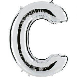 ballon-metallise-argent-lettre-C,-102-cm