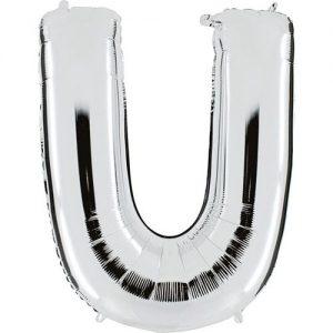 ballon-metallise-argent-lettre-U,-102-cm