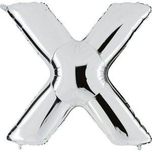 ballon-métallisé-argent-lettre-X,-102-cm